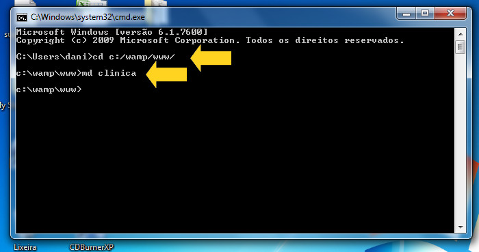 Prompt do ms-dos no Windows7